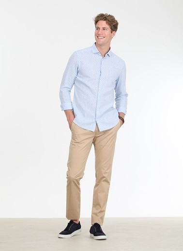 Kip Kip Regular Fit Baskılı Açık Mavi Gömlek Mavi